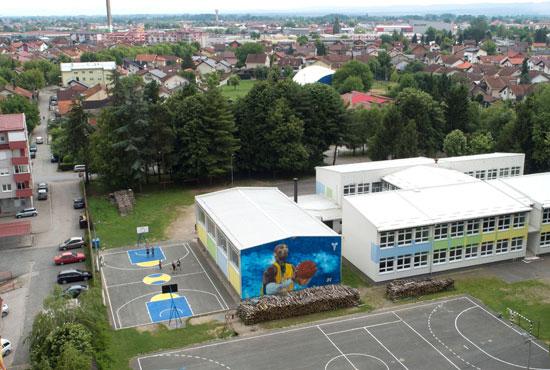 كوبى براينت على جدارية بجدران مدرسة فى البوسنة