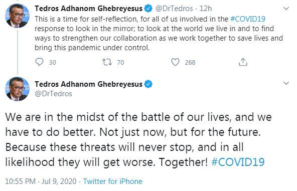 تغريدات مدير منظمة الصحة العالمية