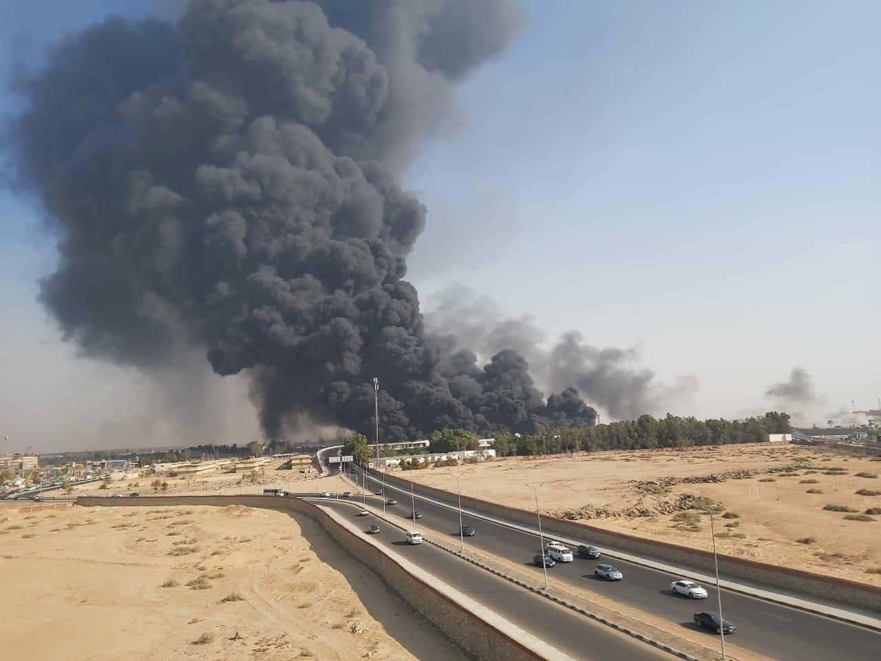 حريق بطريق الاسماعيلية