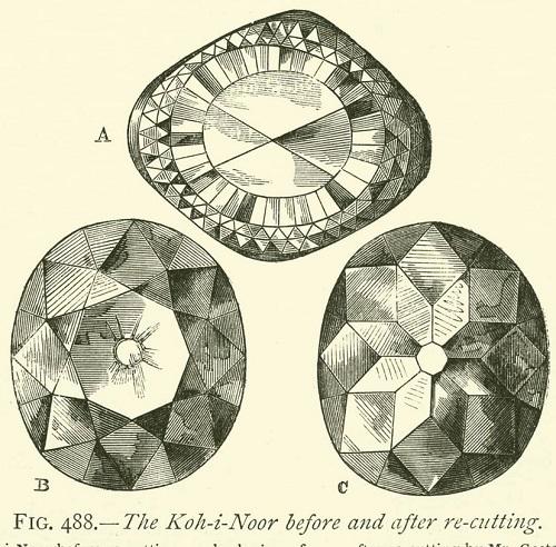 رسم توضيحي لماس Kohinur بعد قطعه عام 1852