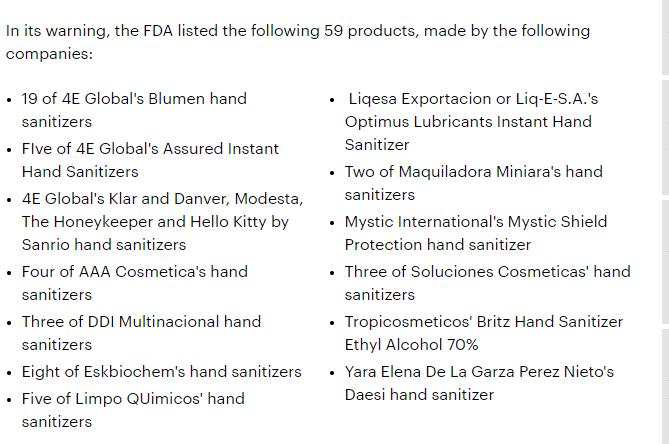 الانواع التى حذرت منها FDA
