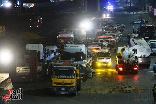 أعمال الإصلاح والصيانة لموقع حريق خط بترول الإسماعيلية الصحراوى (17)