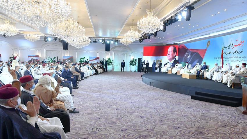 الرئيس عبد الفتاح السيسي  و لقاء مشايخ واعيان القبائل الليبية (3)