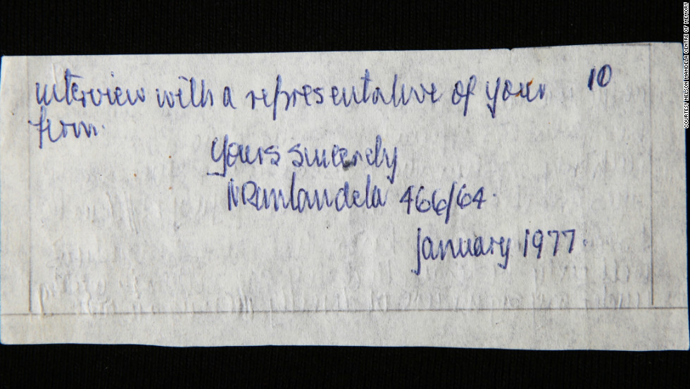 كتابات لمانديلا بخط يده عام 77