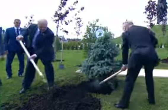 بوتين ورئيس بيلا روسيا يغرسان الشجرة