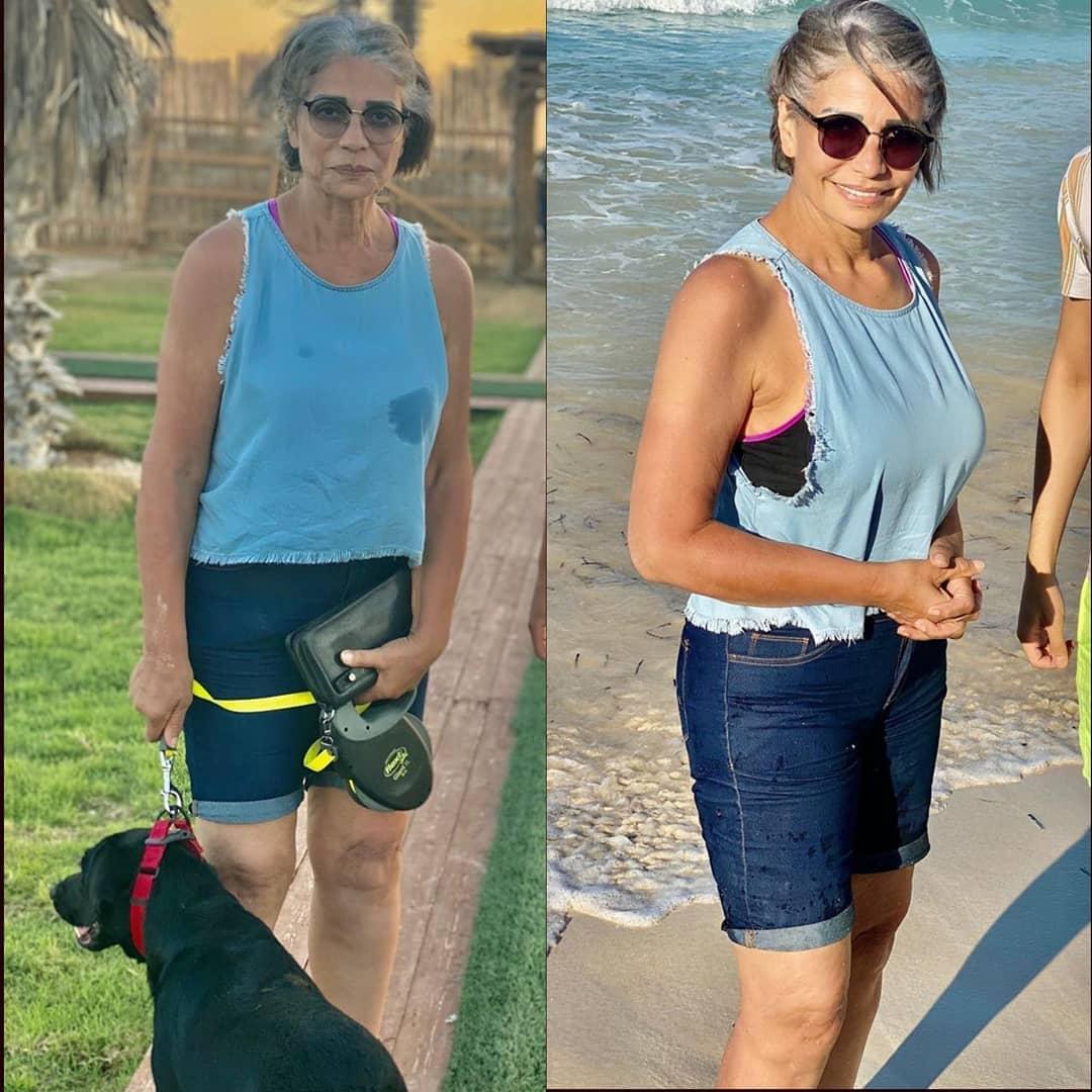 """صور جديدة لـ سوسن بدر بـ""""كات وشورت جينز"""" على أحد الشواطى - اليوم السابع"""
