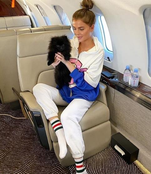 فتاة تحمل كلبها فى طائرة خاصة