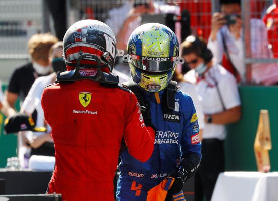 فيراري تشارلز لوكلير مع ماكلارين لاندو نوريس بعد السباق