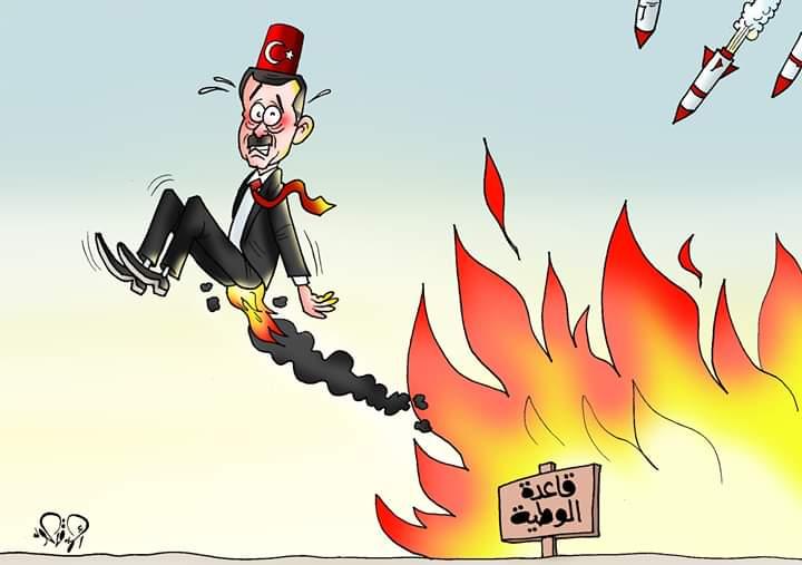 نيران الاحتلال التركى تحرق أردوغان في ليبيا بـكاريكاتير اليوم السابع