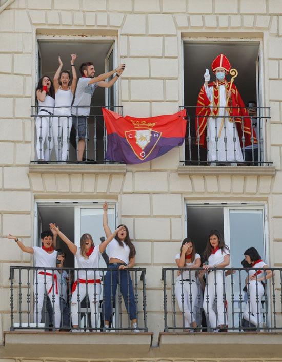 الإحتفالات أمام بلدية بامبلونا
