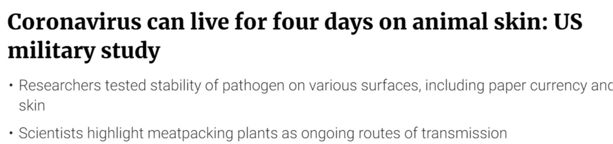 دراسة أمريكية الفيروس يعيش 4 أيام على جلد الحيوناتا