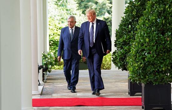 ترامب ونظيره المكسيكى بحديقة البيت الأبيض