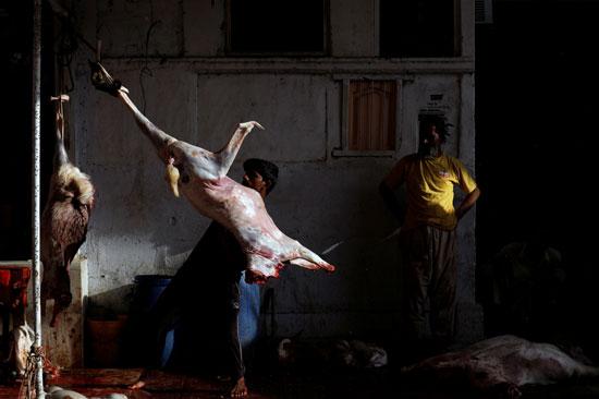 رجل يحمل لحم الماعز بعد أن قشره ، في أحد المتاجر ، خلال الاحتفال بعيد الأضحى