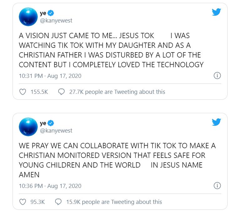 بوست كتبه كاني ويست عن تيك توك