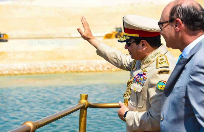الرئيس السيسى أثناء افتتاح قناة السويس