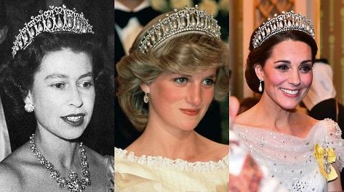 يسار الملكة إليزابيث الثانية وسط ديانا سبنسر أميرة ويلز و يمين كيت ميدلتون  دوقة كامبريدج.