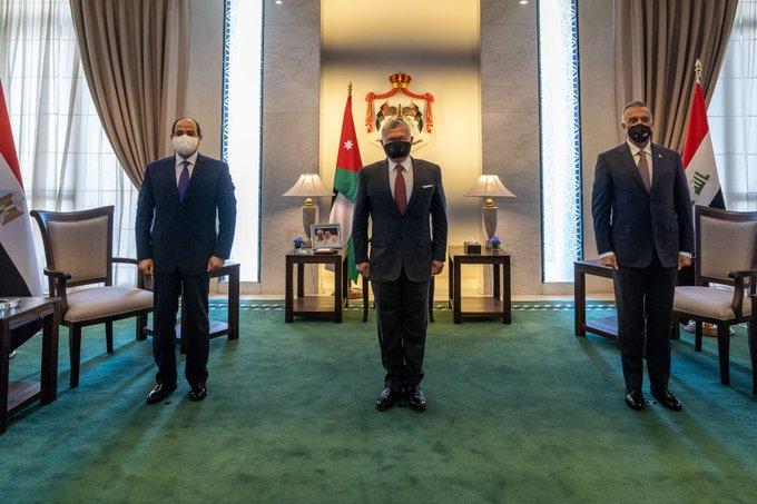 الرئيس السيسى وعاهل الأردن ورئيس الوزراء العراقى