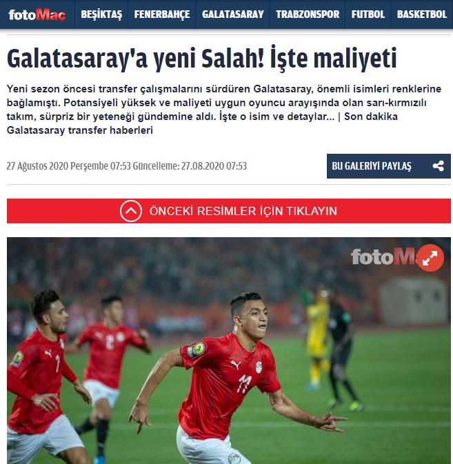 التقرير التركي عن اهتمام جلطة سراي بضم مصطفى محمد