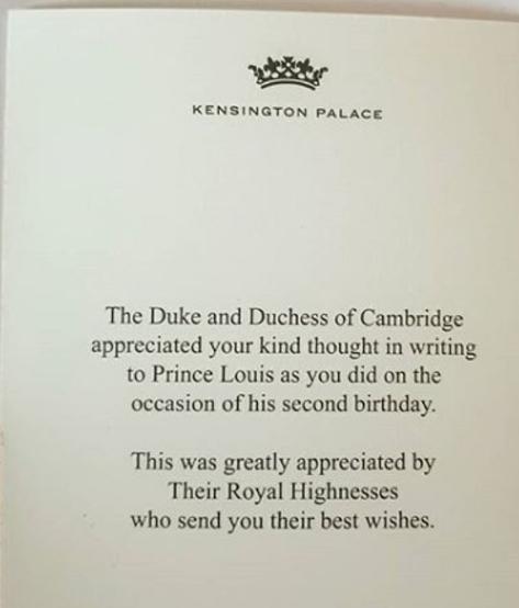 رسالة شكر للمعجبين الملكيين