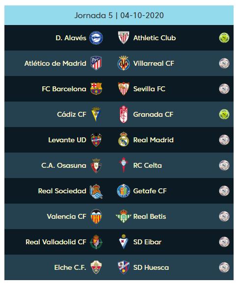 05 الجولة الخامسة من الدوري الإسباني