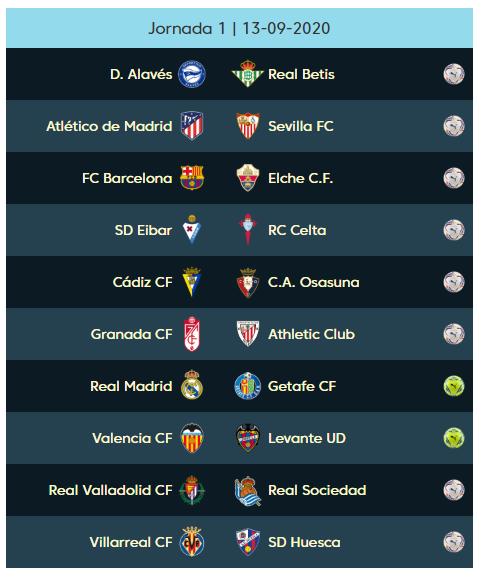 01 الجولة الأولى من الدوري الإسباني