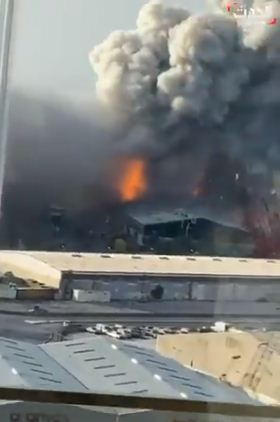 انفجار مرفأ لبنان من موقع قريب
