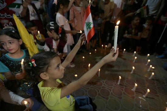 اطفال فلسطين يتضامنون مع ضحايا انفجار بيروت