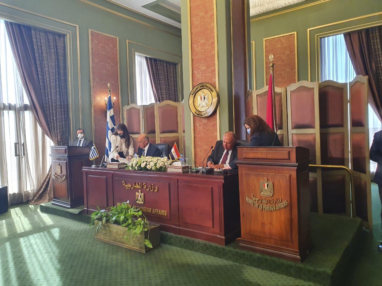 مراسم توقيع اتفاقية تعيين الحدود بين مصر واليونان