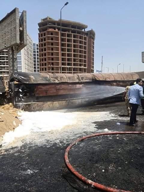 سيارة المواد البترولية بعد الحريق