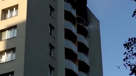 العمارة السكنية التى شهدت الحريق