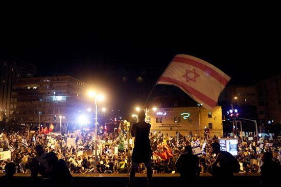 جانب من مسيرات الاسرائيليين ضد نتنياهو