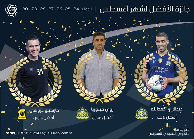 جوائز الافضل فى الدوري السعودي خلال شهر أغسطس