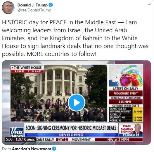 الرئيس الأمريكى دونالد ترامب عبر تويتر