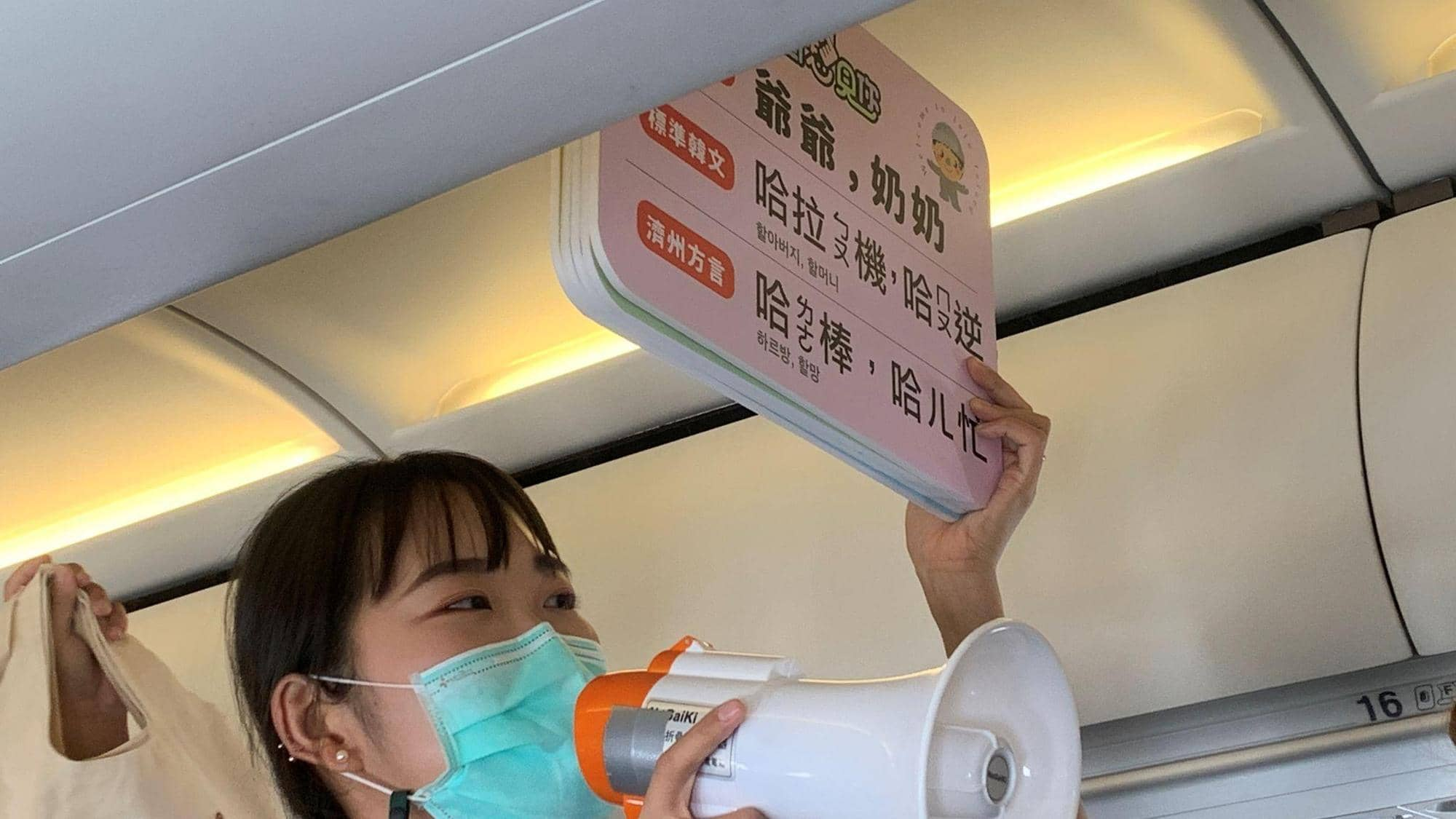 مضيفة ترفع لوحة لركاب الطائرة