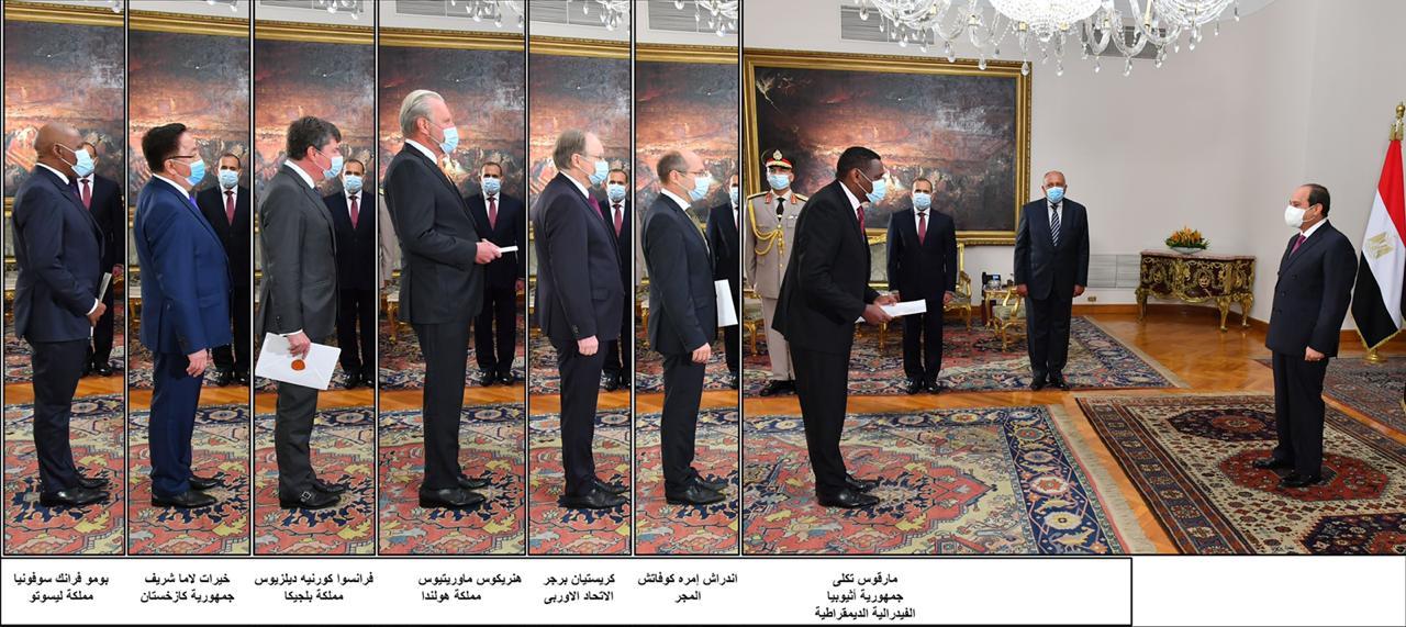السيسى يتسلم أوراق اعتماد 15 سفيرا جديدا.. أبرزهم السودان وإثيوبيا وإسرائيل (1)