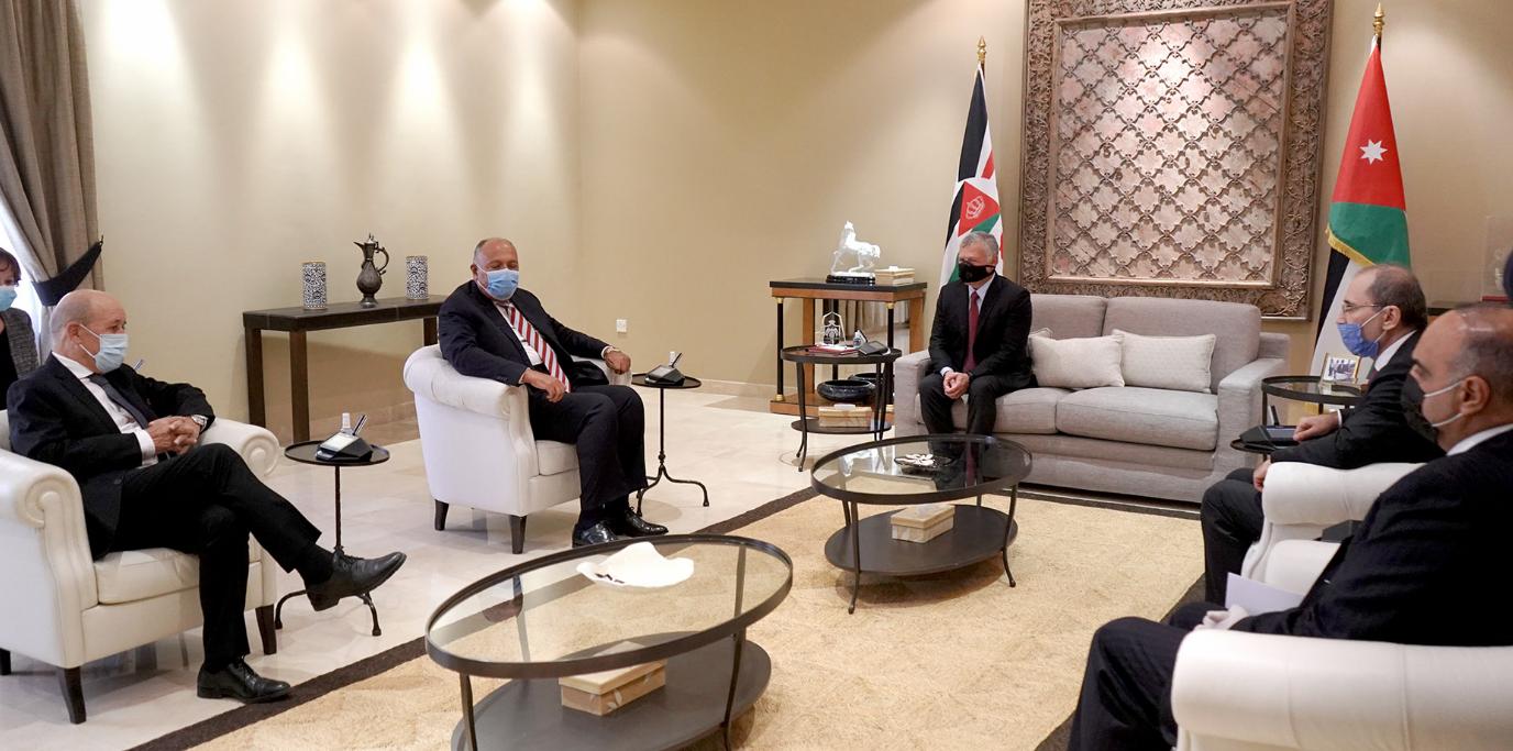 العاهل الأردنى وسامح شكرى ووزير خارجية فرنسا