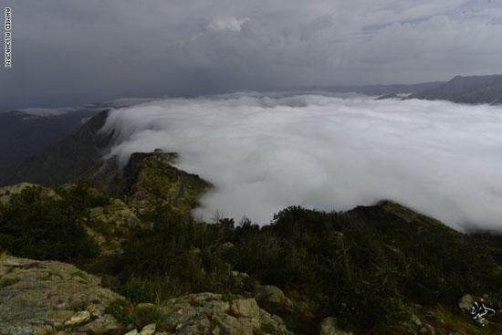 تعانق السحب قمم جبال السروات طوال العام