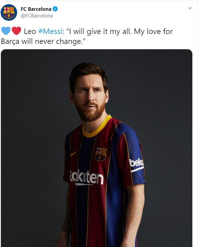 برشلونة يتحدث عن ميسي عبر تويتر