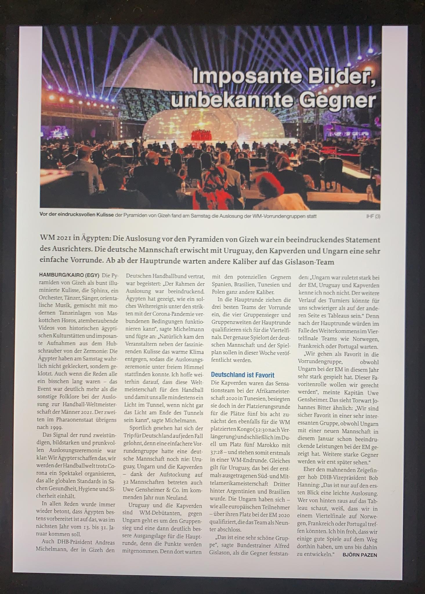 تقرير عن القرعة في المجلة الالمانية