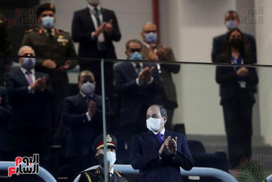 وصول الرئيس السيسي استاد القاهرة لافتتاح البطولة