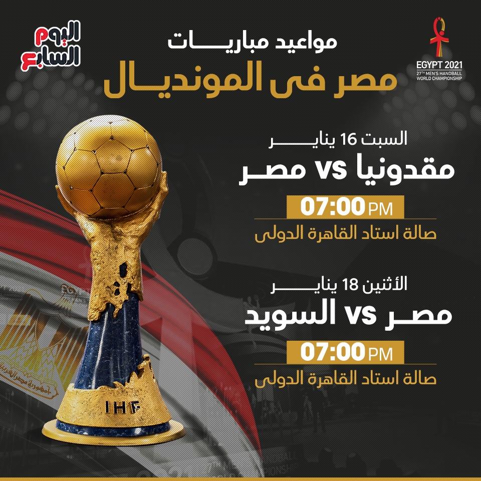 مواعيد مباريات مصر فى مونديال اليد