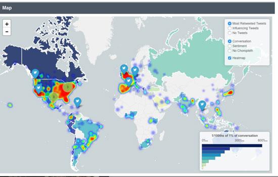 خارطة البلدان التي اهتمت بالتغريد عن الحمامة جو