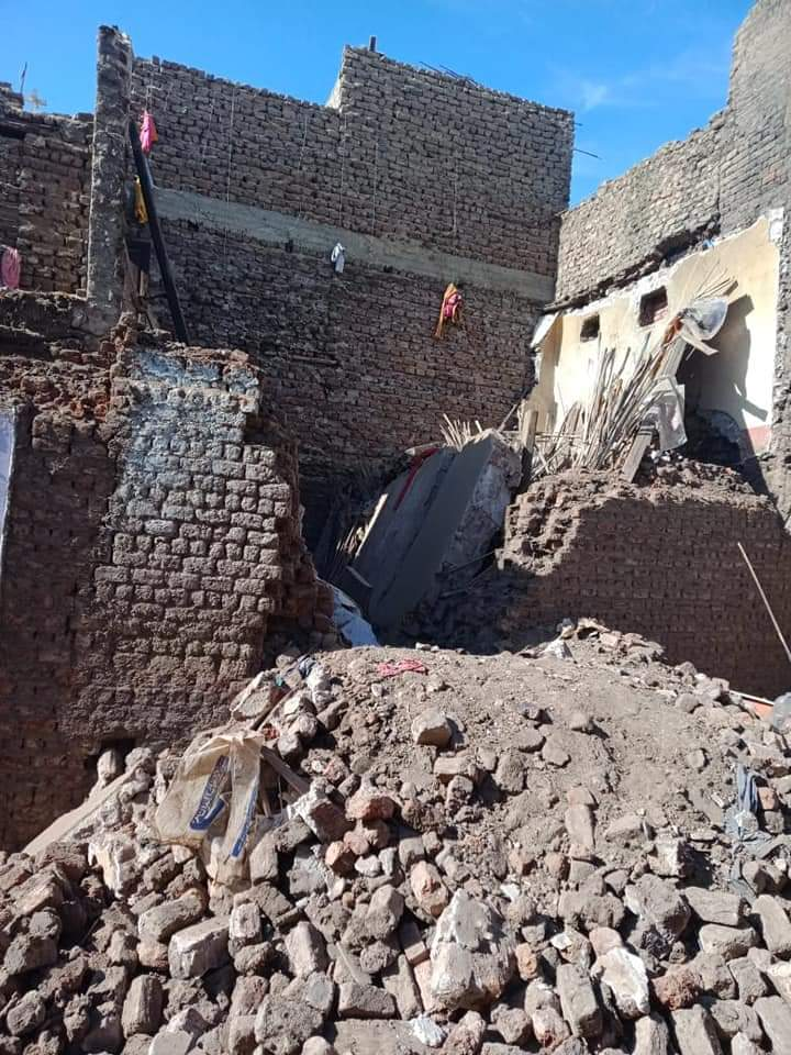 انهيار منزل بقرية شطب بمركز أسيوط (1)