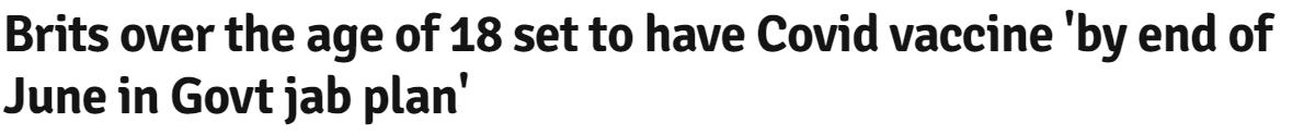 موعد حصول الأشخاص 18 عام على لقاح كورونا ببريطانيا