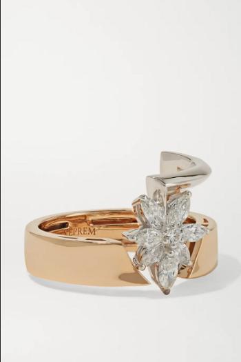 خاتم يبريم مرصع بالألماس من الذهب الوردي عيار 18 قيراطًا (3100 دولار)