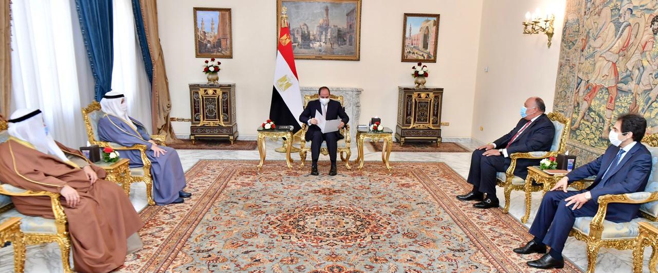 الرئيس السيسي يستقبل الدكتور أحمد ناصر الصباح وزير الخارجية الكويتي