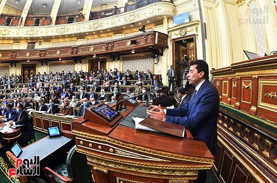 جانب من الجلسة العامة أثناء إلقاء بيان وزير الرياضة
