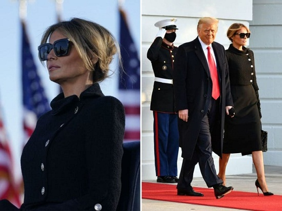 ميلانيا وترامب عند مغادرة البيت الأبيض