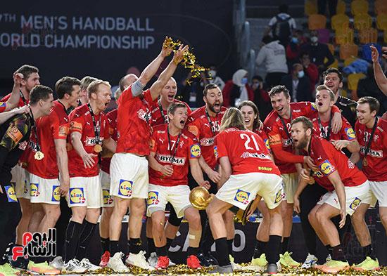 لاعبو الدنمارك يحتفلون بالكاس