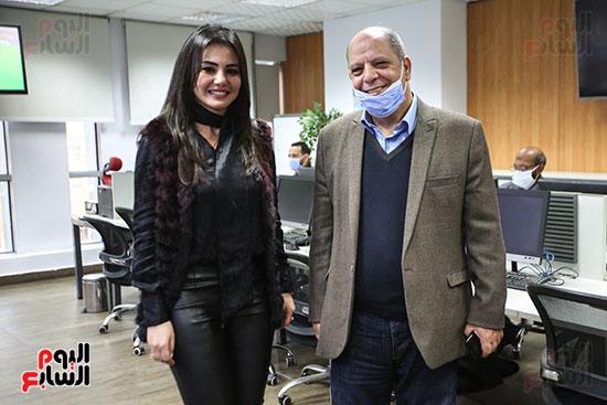 الفنانة دينا فؤاد والكاتب الصحفى سعيد الشحات